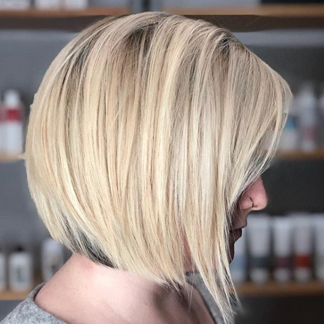 blonde bob with darker hair underneath