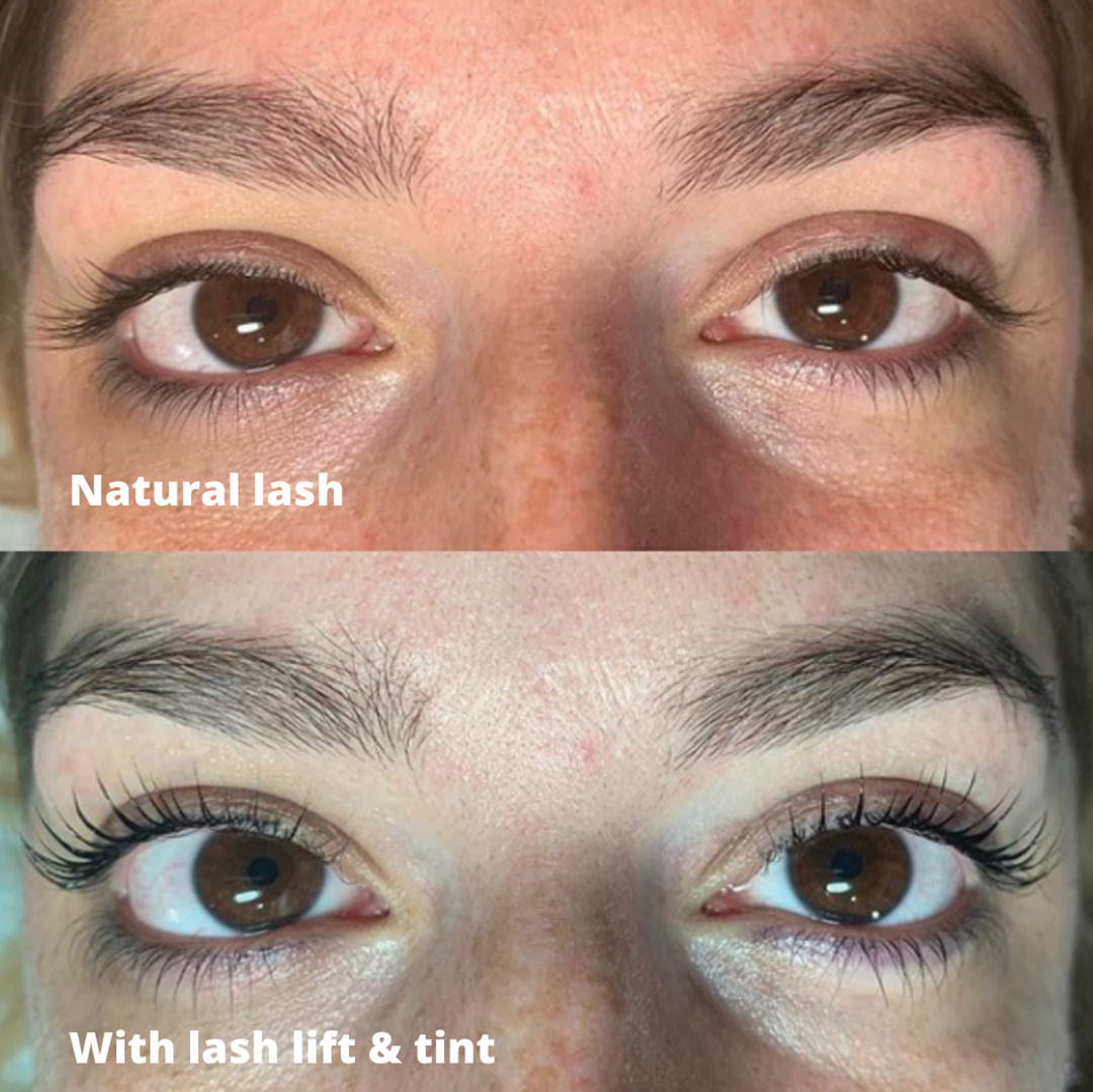 before and after with a lash lift and tint