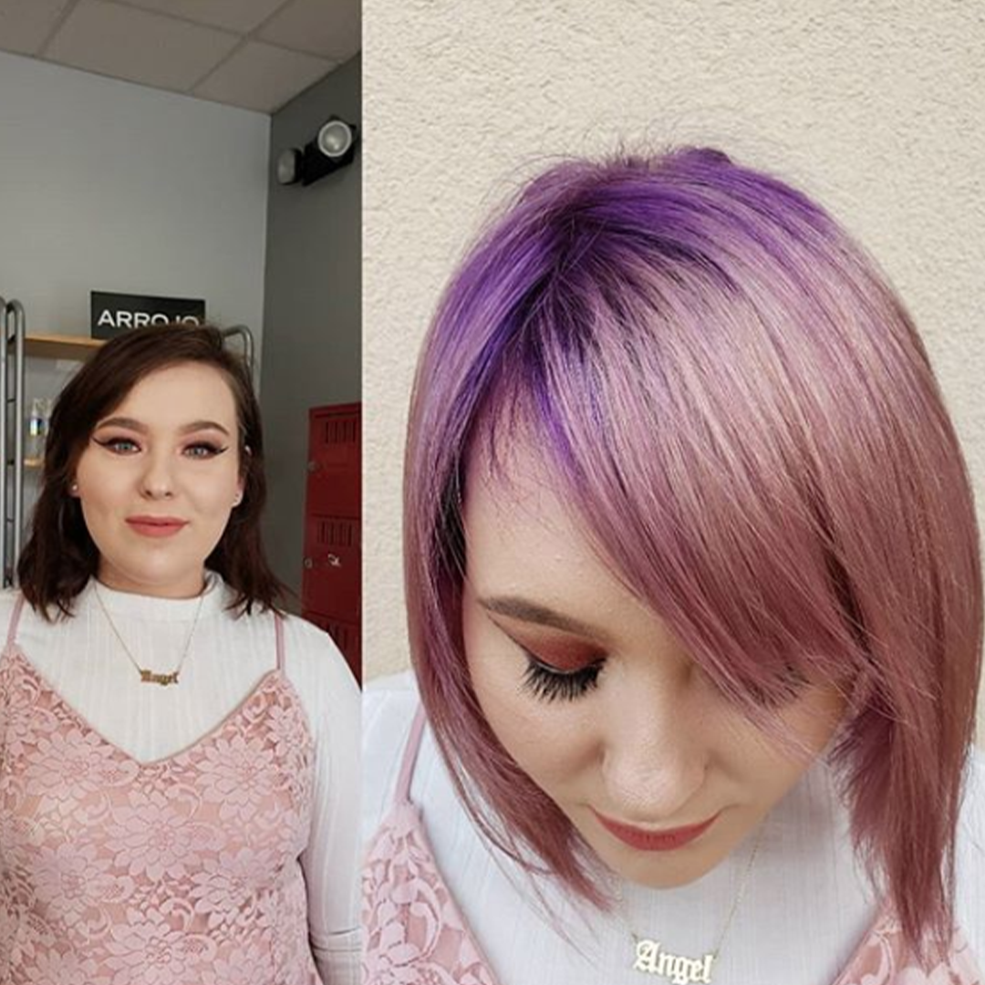 Before and after hair color and cut, purple roots with pink hair