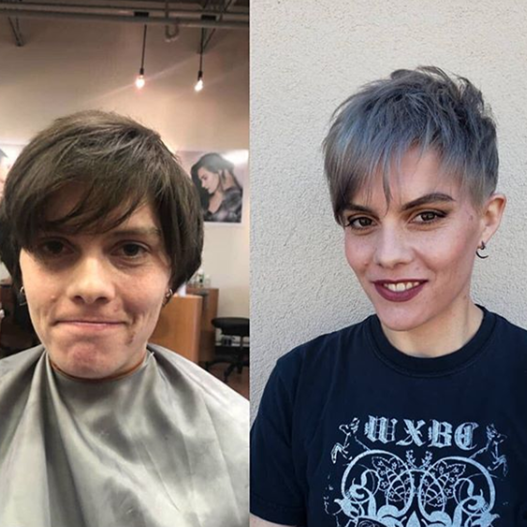 Before and after makeup with new grey blue hair