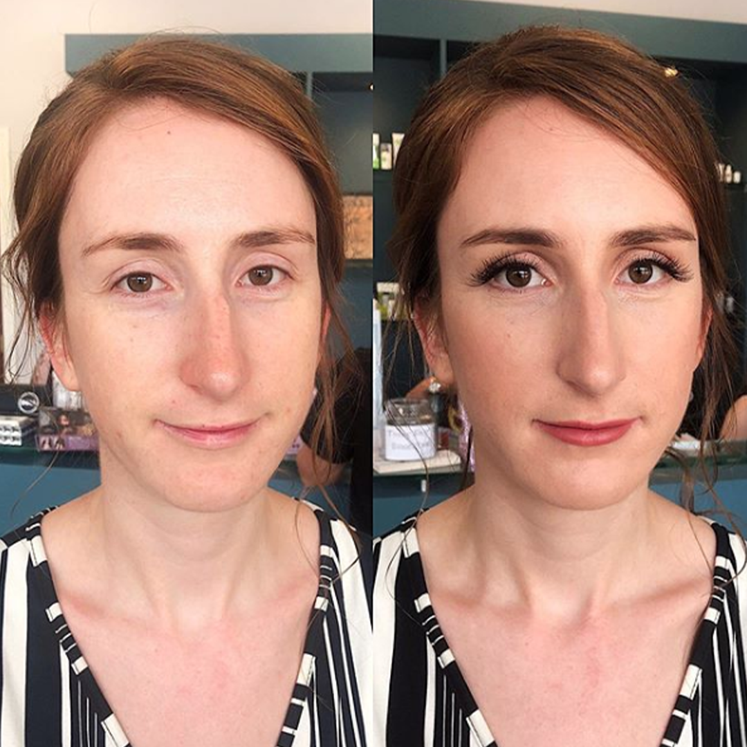 Before and after makeup look that is simple and enhancing