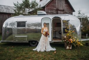 bride outside trailer